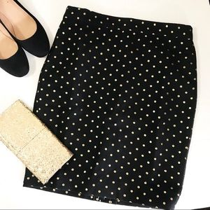 J. Crew Pencil Skirt with Gold Dots